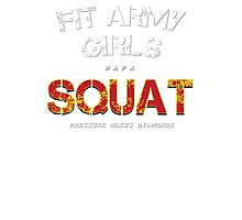 Fit Army Girls Squat Gray/White/Red Photographic Print