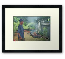 Fish being smoked cooked on BBQ in Bali Framed Print