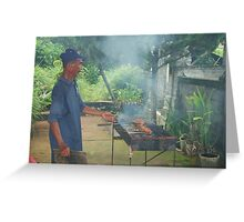 Fish being smoked cooked on BBQ in Bali Greeting Card