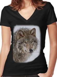 Wolf Shirt - 5 Women's Fitted V-Neck T-Shirt