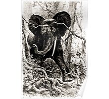 Édouard Riou Voyage brazza elephant hunt riou 1887 Poster