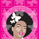 Afro Girl Surrounded By Butterflies by Victoria Ellis