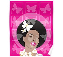 Afro Girl Surrounded By Butterflies Poster
