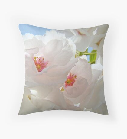 Tree Blossom Flowers White Pink Floral Baslee Troutman Throw Pillow
