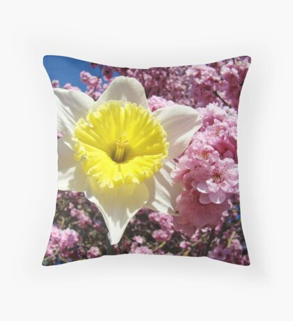 Yellow Daffodil Flower Pink Tree Blossom Baslee Troutman Throw Pillow