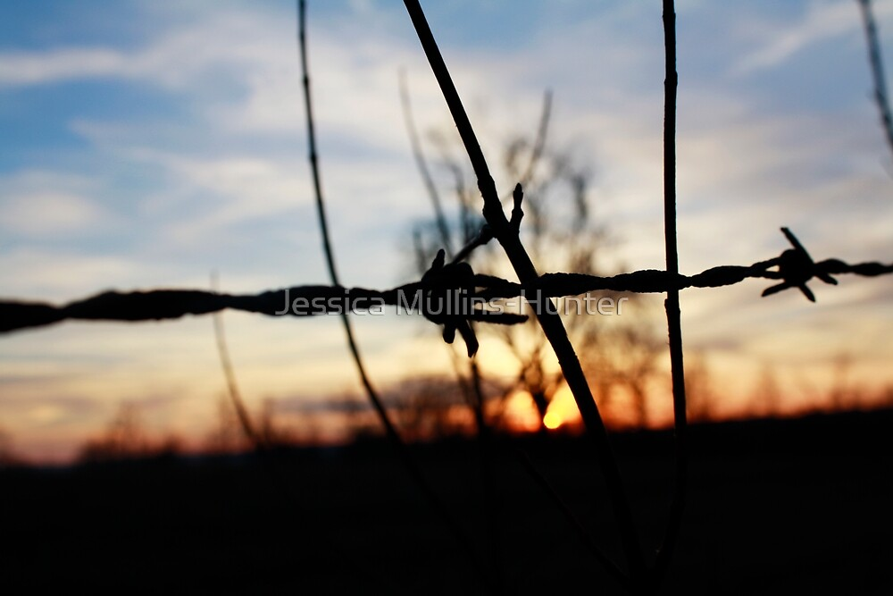 barbed fire sunset by Jessica Mullins-Hunter
