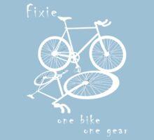 Fixie - one bike one gear (white) One Piece - Short Sleeve