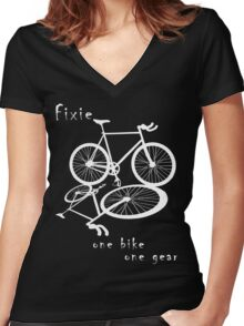 Fixie - one bike one gear (white) Women's Fitted V-Neck T-Shirt