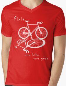 Fixie - one bike one gear (white) Mens V-Neck T-Shirt