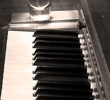 A shot of Bourbon Whiskey and The BW Piano Ivory Keys in Sepia by Bo Insogna