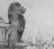 Lion Overlooking Canadian Parliament, Ottawa by P. Leslie Aldridge