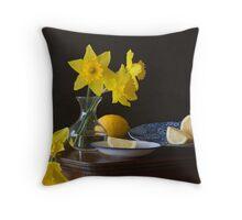 Daffodils and Lemons Throw Pillow