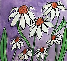 Crazy Daisey backround is Lavender, watercolor, also Calender soon by Anna  Lewis