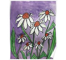Crazy Daisey backround is Lavender, watercolor, also Calender soon Poster