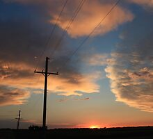 Power Line Sunset by ROBERTDBROZEK