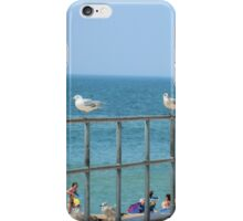 Sky, Water, Sand, Birds, Humans and a Fence  iPhone Case/Skin