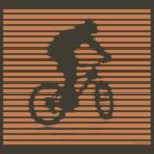 Cyclist - orange-lined bike by JRon