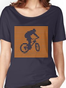Cyclist - orange-lined bike Women's Relaxed Fit T-Shirt