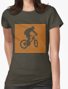 Cyclist - orange-lined bike Womens Fitted T-Shirt