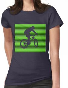 Cyclist - green-lined bike Womens Fitted T-Shirt