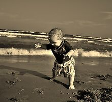 Baby First Steps On The Beach by singlemomsrule