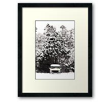 creepy van in snowstorm Framed Print