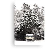 creepy van in snowstorm Canvas Print