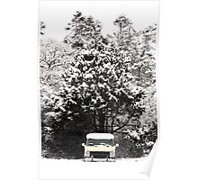 creepy van in snowstorm Poster