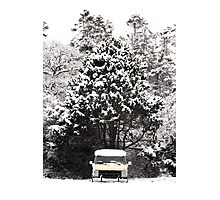 creepy van in snowstorm Photographic Print