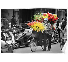 Vietnamese Flower lady Poster