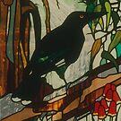 Currawong with Native Flowers1991 by Jeffrey Hamilton
