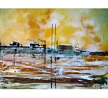 Sunset Lisbon Shipyard Photographic Print