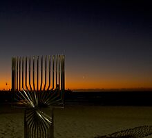 Sculpture, Sunset and Crescent Moon by Sandra Chung