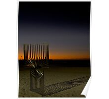 Sculpture, Sunset and Crescent Moon Poster