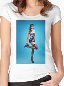 """Strike a pose"" Pin up Girl  Women's Fitted Scoop T-Shirt"