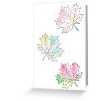 Falling Leaves Pink Hue Watercolour Illustration Greeting Card