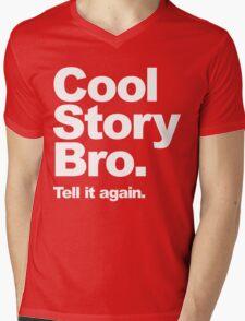 Cool Story Bro. White Text Mens V-Neck T-Shirt