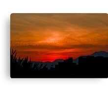 Sunset silhouette in Sicily Canvas Print