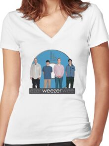 WEEZER - THE BLUE ALBUM. Women's Fitted V-Neck T-Shirt
