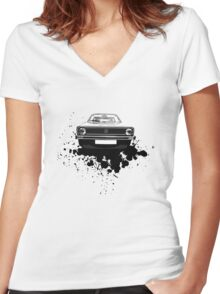 MK1 Golf Front Women's Fitted V-Neck T-Shirt