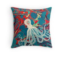 Marbled Paper Octopus Blob by Pepe Psyche Throw Pillow