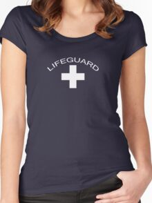 Lifeguard T-Shirt ~ Baywatch Tee ~ Save Me White Cross Women's Fitted Scoop T-Shirt
