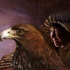 Young mongolian girl with golden eagle by Gerard Mignot