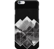 black and white mountains logo on black  iPhone Case/Skin