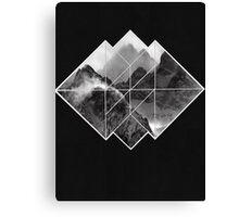 black and white mountains logo on black  Canvas Print
