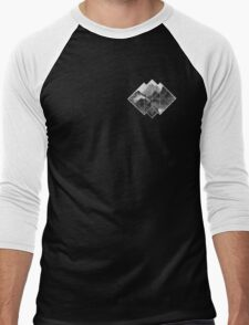 black and white mountains logo on black  Men's Baseball ¾ T-Shirt