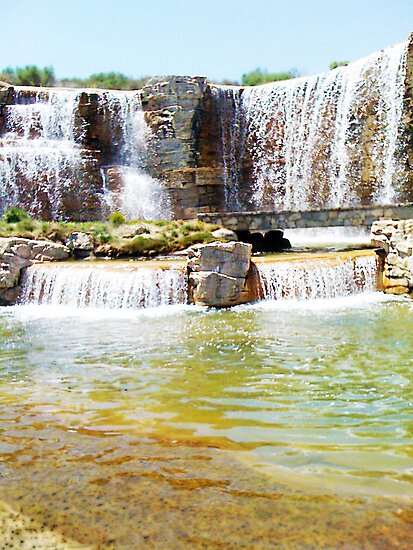 Beautiful Waterfall and Stone Bridge by JTJ Designs