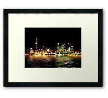 Toronto Skyline At Night From Polson St Reflection Framed Print