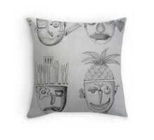Sketchbook - Domestic Heads Throw Pillow