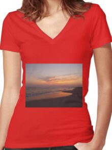 Beautiful Sky On The Beach Women's Fitted V-Neck T-Shirt